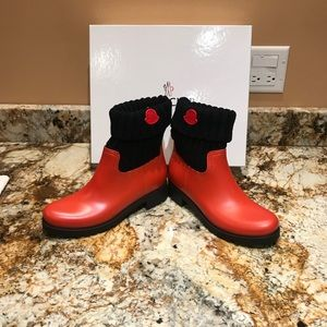 Only worn once, Red Moncler cuffed rain boots.